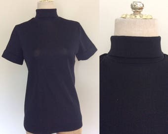 1970's Black Polyester Short Sleeve Turtleneck Shirt Size Small Medium by Maeberry Vintage