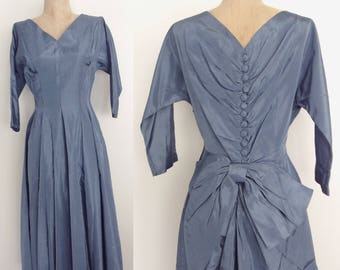 1950's Dusty Blue Cocktail Party Dress with Bow & Button Up Back Size Small by Maeberry a Vintage