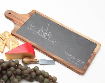 Wood Cheese Board, Personalized Slate Board, Acacia Wood Slate Cheese Board, Owl Slate serving board, Personalized Wedding, Housewarming D29