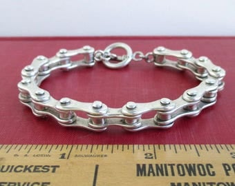 "925 Sterling Silver Bike Chain Bracelet - Heavy Biker Design 54 grams, 7 3/4"""