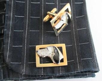 Dalmatian Dog Cuff Links - Vintage Swank, Gold & Painted Enamel