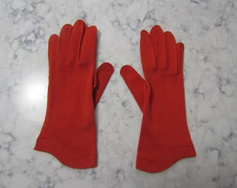 "VINTAGE 1950's HANSEN Burnt Orange / Rust Wrist Length 10"" Cotton Gloves--Size 7 1/2---Glove Auction #2082-0717"