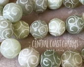 12mm New Jade Carved Beads - Etched Natural Serpentine - Earthy Rustic Boho Healing Chakra Mala - 15 Beads - Central Coast Charms