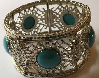 Vintage Faux Turquoise Stretchy Bracelet Large Silver Tone Filigree
