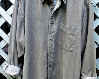 Eddie Bauer Vintage Corduroy Shirt/ Size Large Man's Gray-Khaki Cord/ Herringbone Pattern Corduroy/ Thrifted Couture/ Shabbyfab Funwear