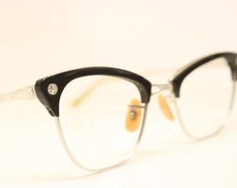 Unused Vintage 1/10 12K Black Silver Cat Eye Glasses Aluminum NOS