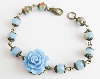 Blue flower bracelet, vintage style beaded bracelet, blue rose bracelet, romantic wedding jewelry, gift for her, brass and bronze