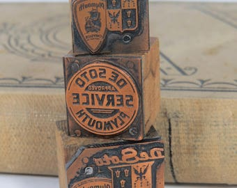 3 Vintage De Soto Plymouth Advertising Letterpress Print Blocks Metal & Wood
