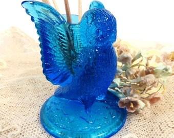 Westmoreland Owl Toothpick Holder Vintage Spread Wing Owl Blue Pressed Glass, Vanity Q Tip Holder