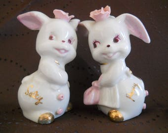 Salty and Peppy Bunny Salt and Pepper Shakers - vintage, collectible, Japan