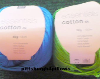 New Listing - Rico Design - Essentials Cotton DK - 50 g - 66 Grass Green - 34 - Med. Blue - Price Is For All -