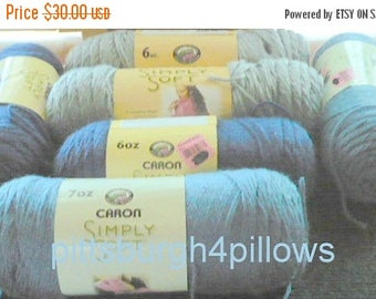 CHRISTMAS IN JULY 10 - Caron - Simply Soft - 2 - 7 oz  Country Blue 9904- 2 - 6 oz  Dk. Country Blue  2 - 6 Oz. Ocean 9759  Grey Heather 974