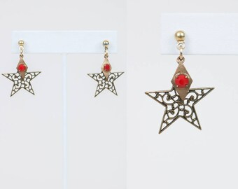 Vintage 70s Earrings / 1970s Filigree Star Dangle Earrings