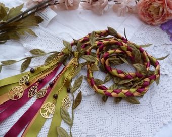 Woodland wedding - Garnet crystal bead Hand fasting wedding cord- burgundy,green and gold with leaves and golden tree of life