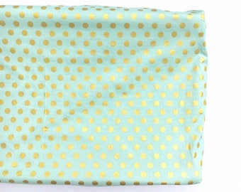 Crib Sheet- Changing Pad Cover- metallic MINT GOLD DOT- gold dot crib sheet- gold dot changing pad cover- girl crib sheet- mint crib sheet