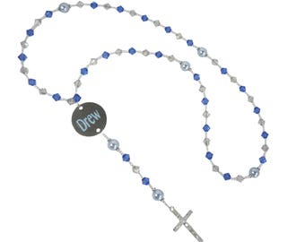 Personalized Name Rosary, Blue and Clear, Baptism Christening First Communion Confirmation Religious Gift