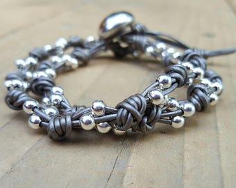Multi Strand Leather and Bead Bracelet