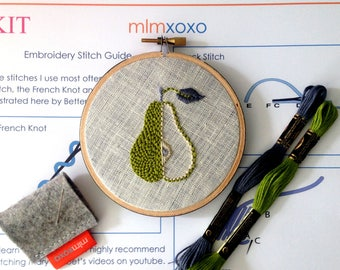 "Embroidery KIT by mlmxoxo.  modern hand embroidery kit.  pear embroidery pattern. DIY needlework kit.  home decor. 4"" hoop art. needle craft"