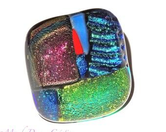 Bright ring, square cabochon multicolor handmade dichroic glass, unique piece