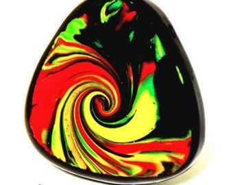 Triangle ring multicolor and black in Fimo; unique