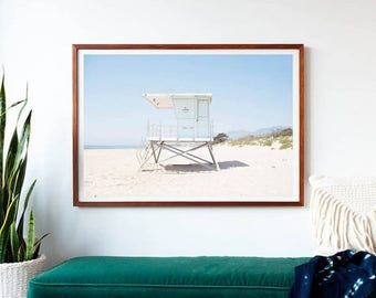 SALE Framed Beach Photography Print, Oversized Wall Art, Large Print, Beach Decor, Lifeguard Tower, Coastal Blue, Pastel, Summer, Framed Art
