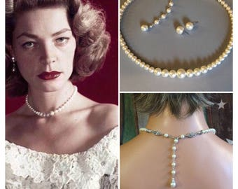 Bridesmaid Jewelry Set Classic Pearl Necklace and Earrings one strand Cream Ivory Swarovski pearls  or your choice of color wedding