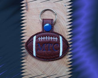 Personalized Football Key Fob, Key Chain, Luggage Tag, Bag Clip, Vinyl, Key Ring, Purse Charm, Snap Tab