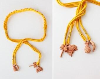 Pineapple Belt • Vintage Belt • Tropical Belt • Yellow Belt • Vintage Braided Belt • Adjustable Belt • 80s Belt • High Waisted Belt | BT359