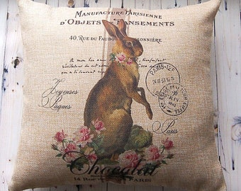 Easter Decor - Farmhouse Pillow - Easter Pillow - French Country - Decorative Pillow - Bunny Pillow - 16 x 16 - Throw Pillow Cover