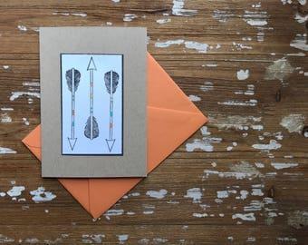 Three Arrows notecard, blank