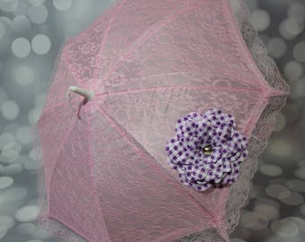 Pink Lace Umbrella with Purple Checked Flower - Flower Girl Parasol - Tea Party Sun Shade - Girls Pink Sun Parasol - Photo Prop - 17009