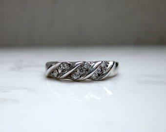 Vintage Diamond and Solid 14k White Gold Magic Glow Wedding Anniversary Stacking Band Ring, Size 6.75