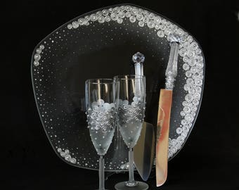 Wedding Set, Cake Server Plate Glasses, Champagne Flute, Cake Plate, Hand painted