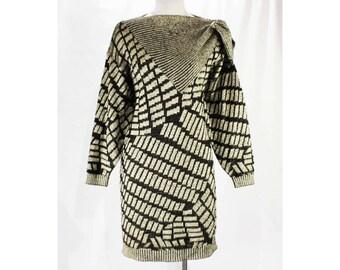 Size 10 Sweater Dress - Medium 80s Italian Knit Sheath by Louis London - 1980s 90s Euro Knitwear - Asymmetric Avant Garde - Bust 40 - 49114