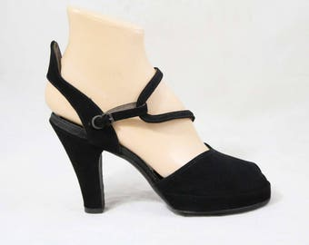 Size 6 Black 1940s Shoes - Chic Suede Platforms with Asymmetric Strap & Slingback - 6 to 6.5 Peep Toe 40s Platform Heels - Deadstock - 49159
