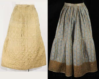 Size 10 Antique Petticoat - Early 1800s Silk & Cotton Underskirt - 1820s 1830s 1840s Hand Sewn Quilted Victorian - Beige Brown Blue - 48751
