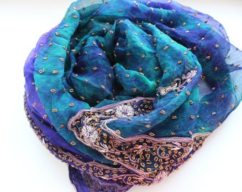 Indian vintage blue-green hand embroidered chiffon silk long dupatta scarf. Tie&dye scarf, palantine. Batik scarf, blue stole. SCM003