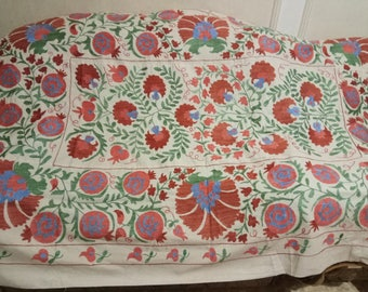 Uzbek hand embroidered suzani Pomegranates and Floral motives. Wall hanging, bed cover suzani