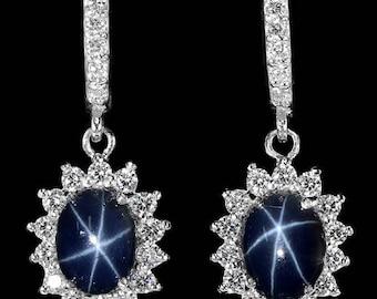 34 TCW Natural Deep Blue 6 Star Sapphire gemstones, White CZs, 14kt White gold Pierced Earrings