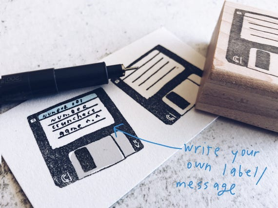 The Not So Floppy Disk Stamp - Retro Rubber Stamp - Pen Pal Stationary Stamp