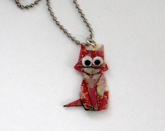 origami pink cat necklace