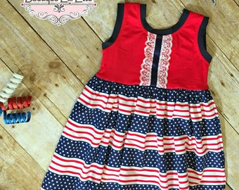 Ready to Ship 2T Girls Knit Dress Emerald in 4th of July Collection Red White and Blue Independence Day