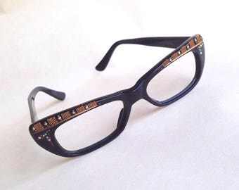 1950s Black & gold carved rhinestone rectangular cateye spectacle frames / 50s sparkly diamanté cat eye glasses sunglasses