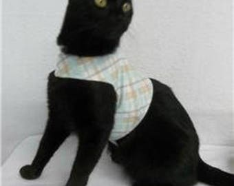 Cat Walking Vest Harness Size SMALL Ready-Made Mint Green Plaid Fabric with D Ring Handmade USA
