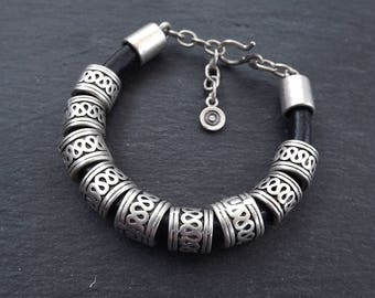 Rustic Slider Bead Silver & Leather Ethnic Statement Bracelet - Authentic Turkish Style
