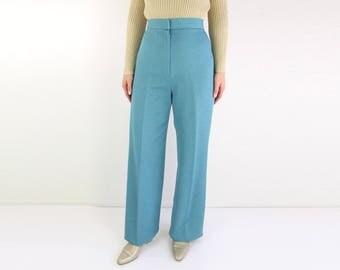 VINTAGE 1970s Pants High Waist Trousers Blue