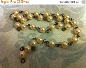 SALE Vintage Style Handmade Linked 4mm Beaded Chain with Cream champagne Faux Czech pearls