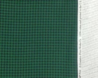 Cranston print works fabric cotton green navy blue small check print VIP 61 x 44 in