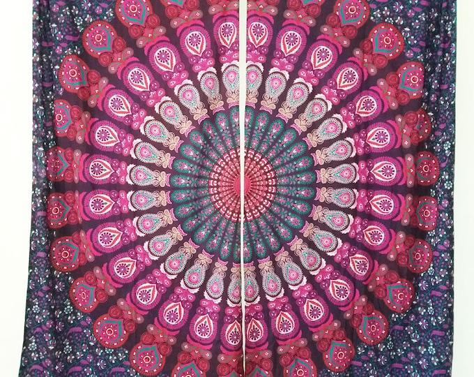Mandala Tapestry Purple and Pink Peacock Curtains Boho Mandala Window Treatment Hippie Curtains Beach Gypsy Curtains Dorm Decor