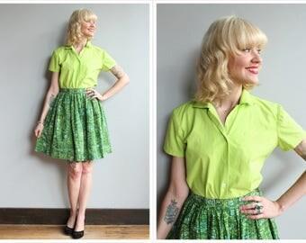 1990s Blouse // Lime Juilliard Blouse // vintage 90s blouse